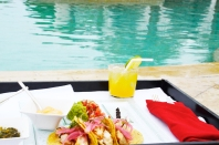 fish tacos poolside
